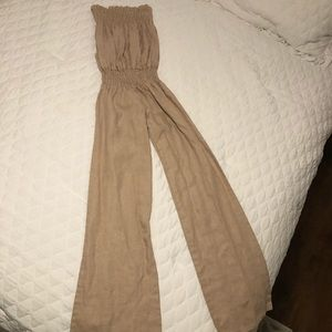 Tan linen strapless jumpsuit